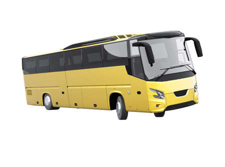 3d rendering yellow long travel bus turns on white background no shadow