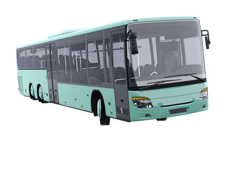 3d rendering long travel bus turns on white background no shadow
