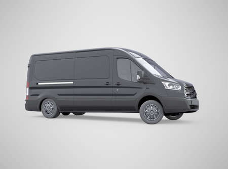 3d rendering minibus turns on gray background with shadow