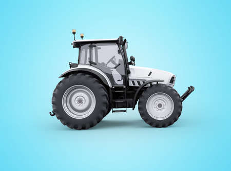 3d rendering tractor side view isolated on blue background with shadow