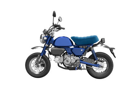 3d rendering blue motorcycle isolated on white background no shadow