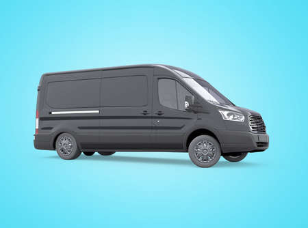 3d rendering minibus turns on blue background with shadow Stock fotó