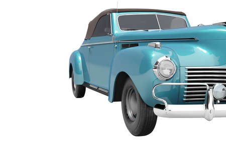 3d rendering of retro blue car with roof with leather on white background no shadow