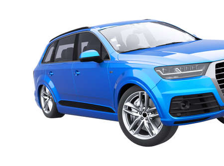 3d rendering blue car skid concept on white background no shadow