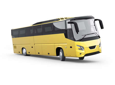 3d rendering yellow long travel bus turns on white background with shadow Stock fotó