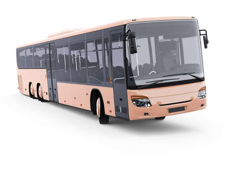 3d rendering long travel bus turns on white background with shadow Stock fotó