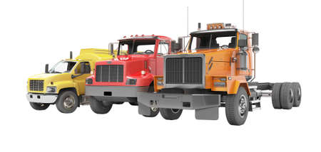 3d rendering group of heavy vehicles for transportation on white background no shadow Stock fotó