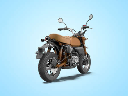 3d rendering brown motorcycle isolated back view on blue background with shadow Stock fotó