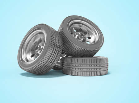 3d rendering of set of car tires on blue background with shadow