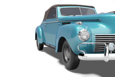3d rendering of retro blue car with roof with leather on white background with shadow Stock fotó