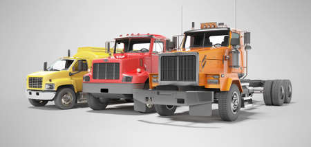 3d rendering group of heavy vehicles for transportation on gray background with shadow