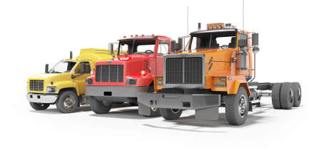 3d rendering group of heavy vehicles for transportation on white background with shadow