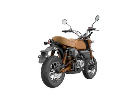 3d rendering brown motorcycle isolated back view on white background no shadow Stock fotó