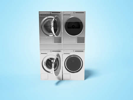 3d rendering group washing machine dryer on blue background with shadow