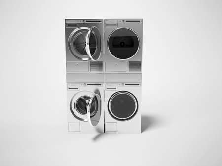 3d rendering group washing machine dryer on gray background with shadow