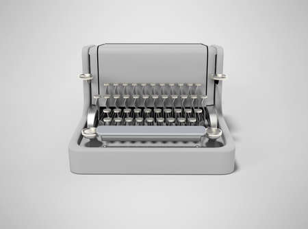 3d rendering of typewriter on gray background with shadow