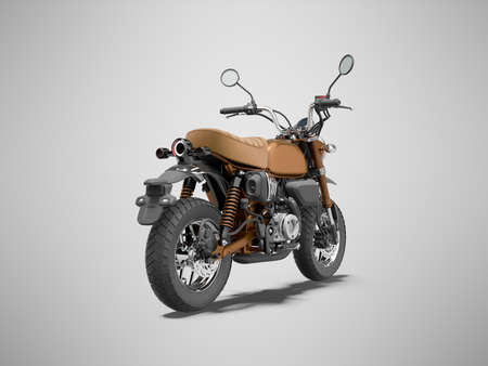 3d rendering brown motorcycle isolated back view on gray background with shadow