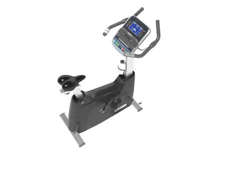 3d rendering sports trainer exercise bike with computer display on white background no shadow Stock fotó