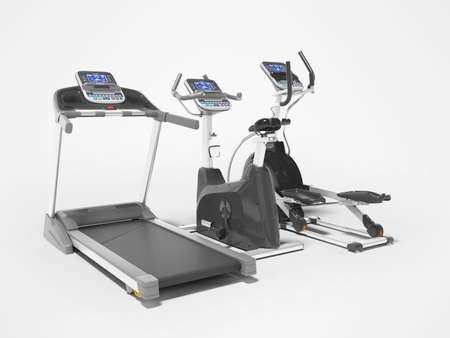 3d rendering professional cardio exercise equipment with computer display on gray background with shadow