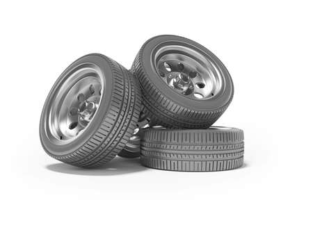 3d rendering of set of car tires on white background with shadow