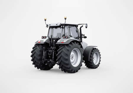 3d rendering gray tractor isolated on gray background with shadow