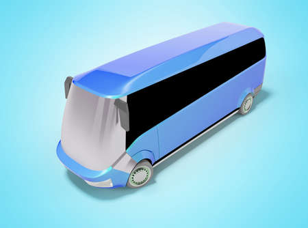 3d rendering of blue electric bus on blue background with shadow Stock fotó
