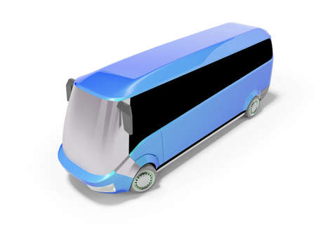 3d rendering of blue electric bus on white background with shadow