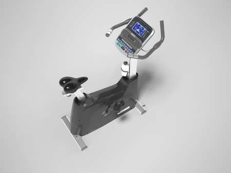 3d rendering sports trainer exercise bike with computer display on gray background with shadow Stock fotó
