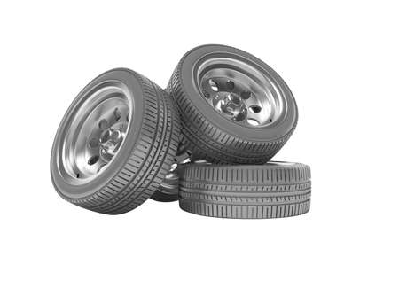 3d rendering of set of car tires on white background no shadow Stock fotó