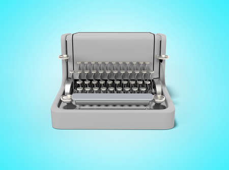 3d rendering of typewriter on blue background with shadow