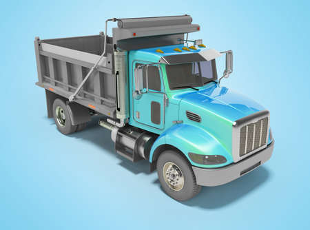 3d render blue dump truck with automatic closing trailer isolated perspective view on blue background with shadow