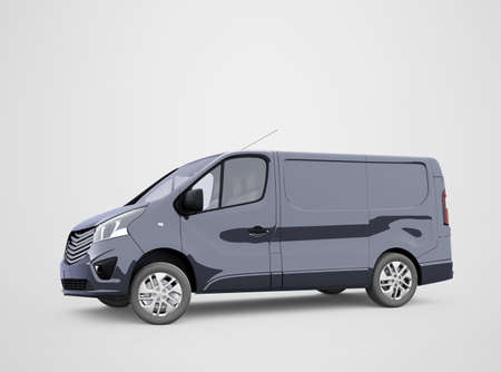 3d render blue minibus illustration on gray background with shadow