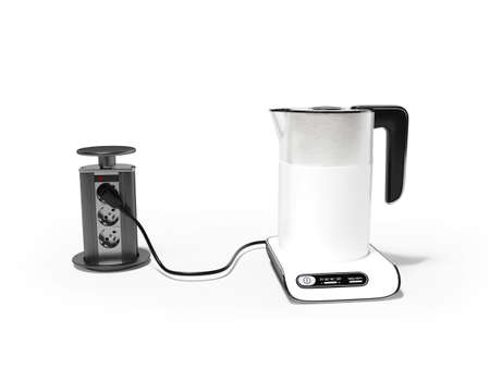3d render electric kettle plugged in illustration on white background with shadow Stock fotó