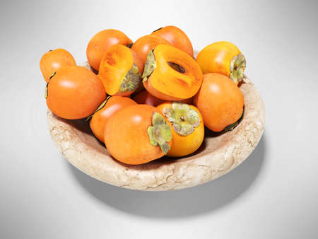3d rendering of persimmon on plate on gray background with shadow