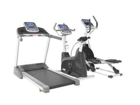 3d rendering professional cardio exercise equipment with computer display on white background no shadow