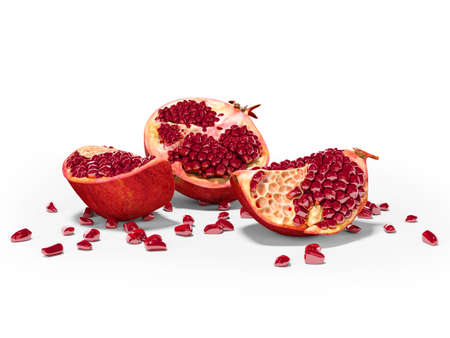 3d rendering ripe peeled pomegranate on white background with shadow