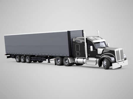 3d render forklift truck tractor truck turns illustration on gray background with shadow