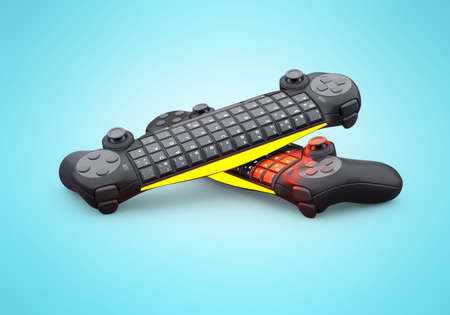 3d rendering group of wireless joystick with keyboard on blue background with shadow
