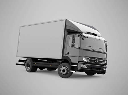 3d render truck up to five tons illustration on gray background with shadow