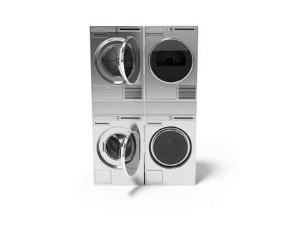 3d rendering group washing machine dryer on white background with shadow Stock fotó