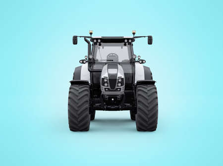 3d rendering tractor front view isolated on blue background with shadow