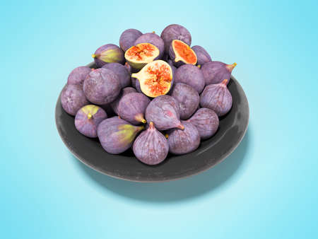 3d rendering ripe figs on plate on blue background with shadow