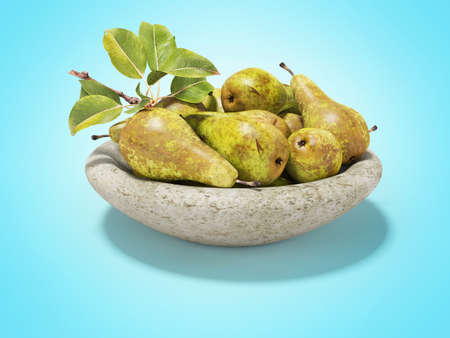 3d rendering ripe set of pears on plate on blue background with shadow
