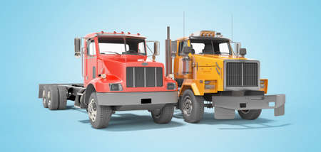 3d render group red and orange dump truck isolated on blue background with shadow