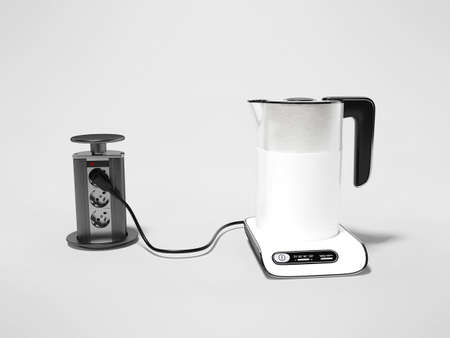 3d render electric kettle plugged in illustration on gray background with shadow