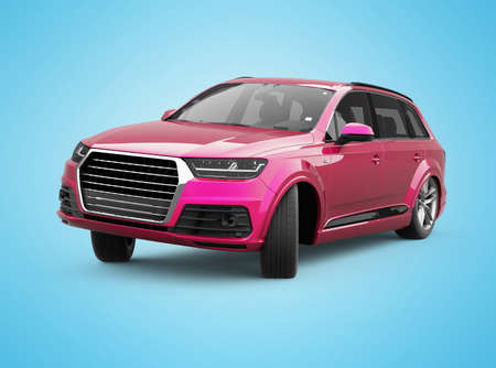 3d render red car turns illustration on blue background with shadow