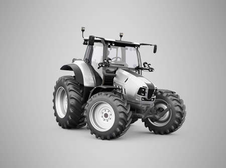 3d render gray tractor illustration on gray background with shadow