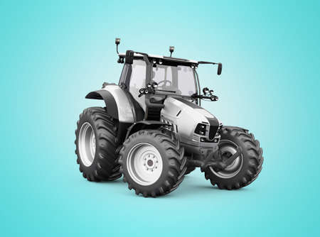 3d render gray tractor illustration on blue background with shadow