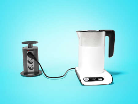 3d render electric kettle plugged in illustration on blue background with shadow Imagens