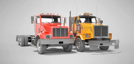 3d render group red and orange dump truck isolated on gray background with shadow Imagens